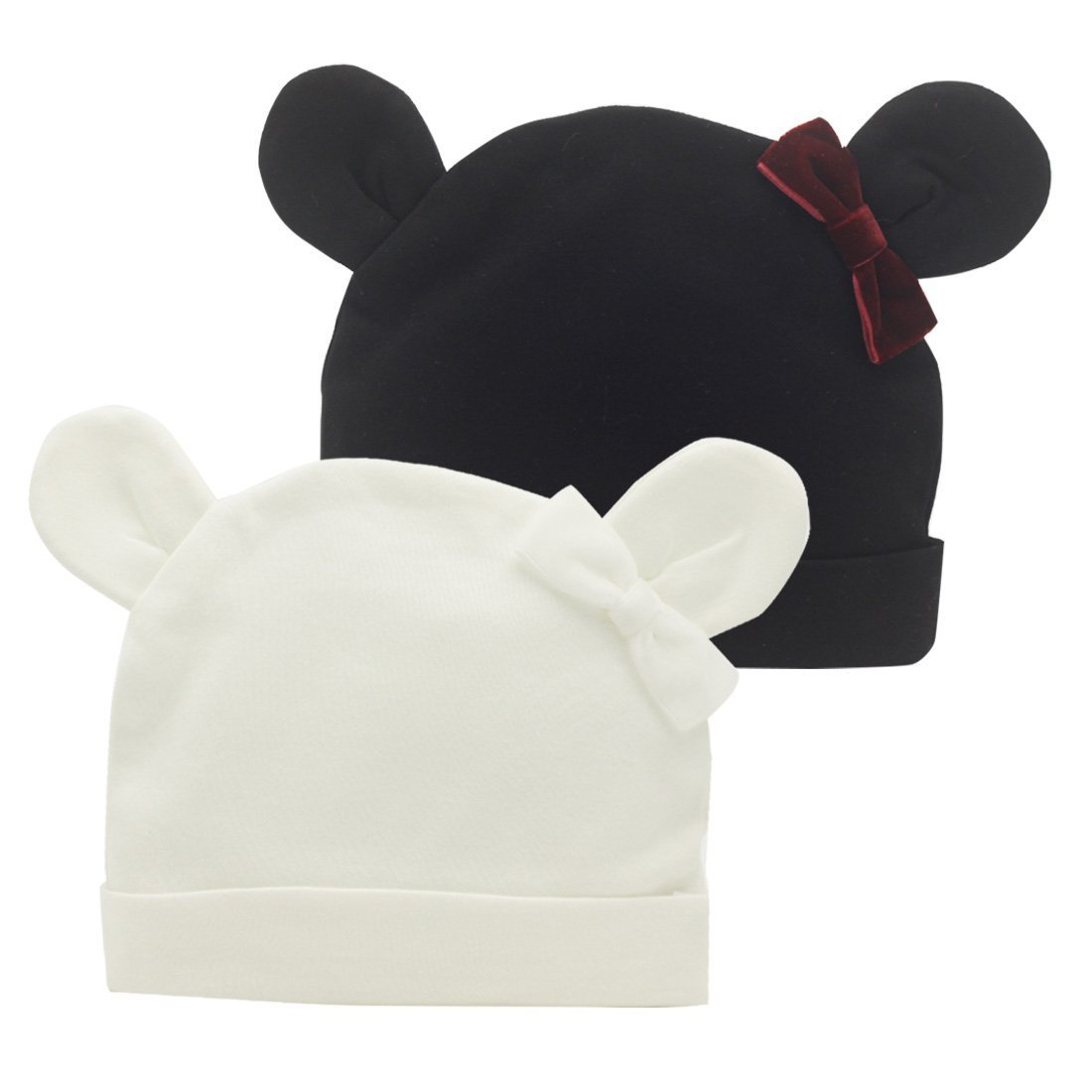 Nihao Baby HAT ベビーガールズ 6 - 12 Months White Black Baby Ear Hat B07G4G1GYG