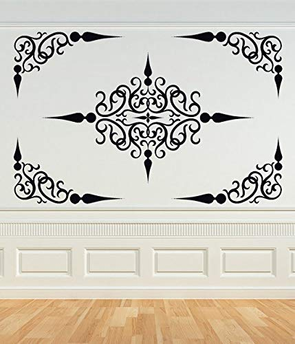 Decal Medallion - Decorative Scroll Panel Ceiling Medallion Swirl Decal Corner Decal Wrought Iron Vinyl Sticker Wall Art Home Office Bedroom Decor and Stick Made in USA