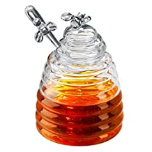 Artland Glass Bee Hive Honey Pot With Dipper - 15 ounce