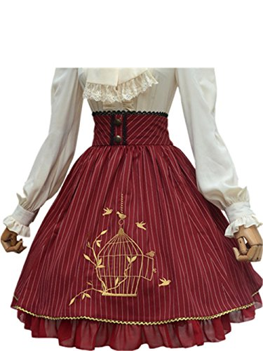 (Classic Lolita Skirt Vintage Style Stripes Skirt With Bird Cage Embroidery (Red,)