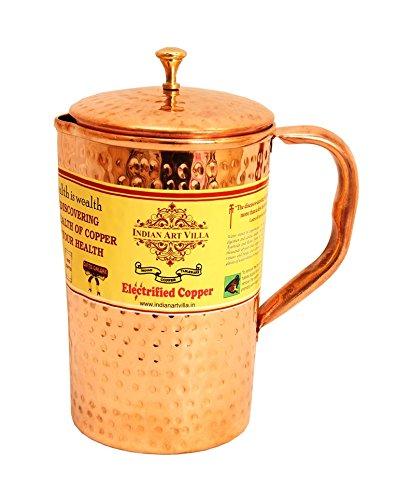 IndianArtVilla Handmade Pure Copper Designer water Jug, 1300 ML