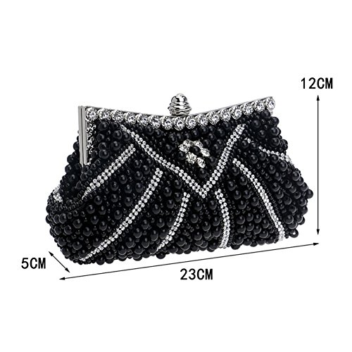 Purse Women's Handmade Party Handbag Wedding Evening Rhinestone White MGH Clutch 8vwZq