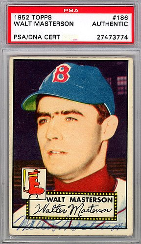 - Walt Masterson Signed 1952 Topps Card #186 Boston Red Sox - PSA/DNA Authentication