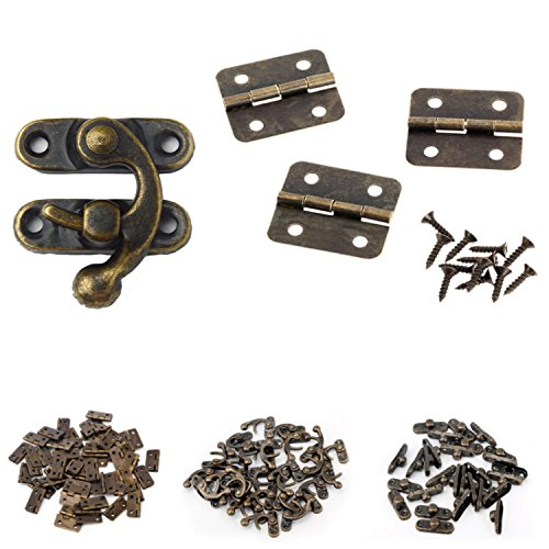 MANSHU 40pcs Small Box Hinges, 20 Sets Antique Right Latch Hook Hasp Wood Jewelry Box Hasp Catch Decoration with 240 Pieces Replacement Screws - Bronze Tone