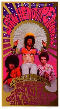 Jimi Hendrix in Concert, Saville Theatre Art Poster Print by Karl Ferris, 14x24