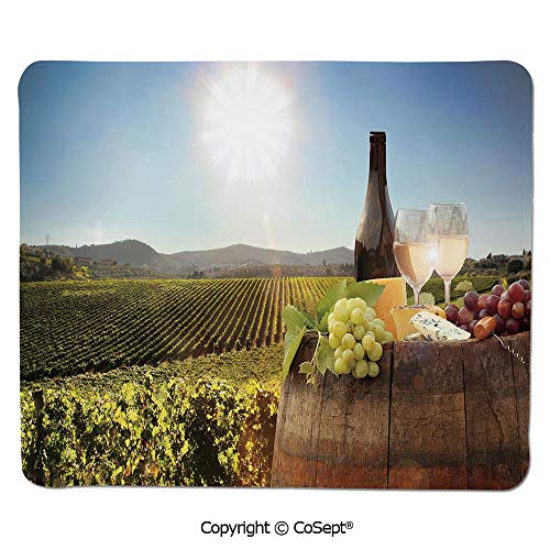 Mouse Pad,White Wine with Barrel on Famous Vineyard in Chianti Tuscany Agriculture Decorative,Water-Resistant,Non-Slip Base,Ideal for Gaming (11.81