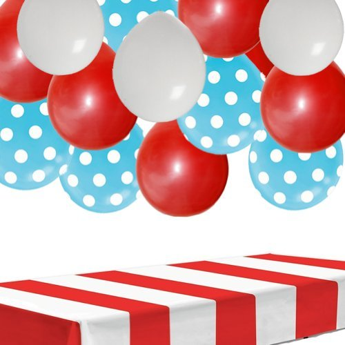 Dr Seuss Party Decorations Kit: Table Cover and 30 Balloons