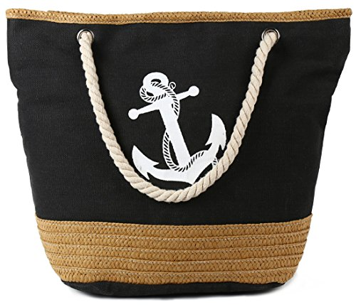 Pulama Womens Large Beach Tote Canvas Shoulder Bag Wave Striped Anchor Summer Handbag Top Handle Bag Straw Beach Bag (Cool Anchor Black) ()