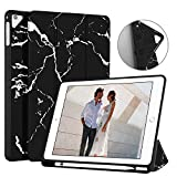 Ayotu Soft Case for Newest iPad 9.7 Inch 2018/2017 with Pencil Holder, Lightweight Trifold Stand with Auto Sleep/Wake,Full Protective for Apple iPad 6/5th Generation, Black-The Marble Pattern