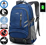 ANTSANG Backpack Bookbag For School Student College Business Travel with USB Charging Port Fit Laptop Up to 15.6 Inch Water Resistant Night Light Reflective Anti theft (Dark Blue)