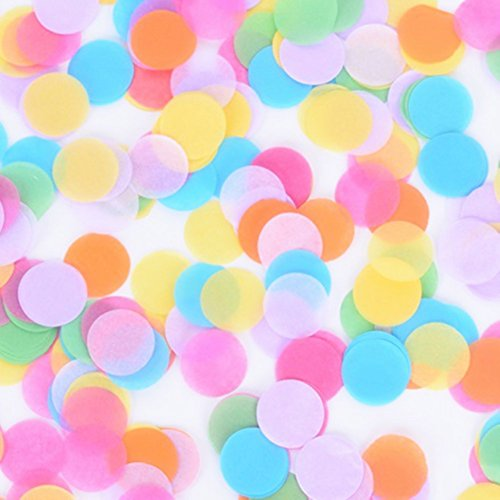 StarParty 1 inch Multicolor Round Paper Tissue Confetti 6000 Pieces For All Kind Of Celebrations(Light purple Pink Blue Green Yellow Orange)