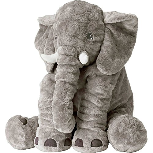Rainbow Fox Long Nose Elephant Toys Soft Plush Stuff Dolls Lumbar Toys (Grey, Large)