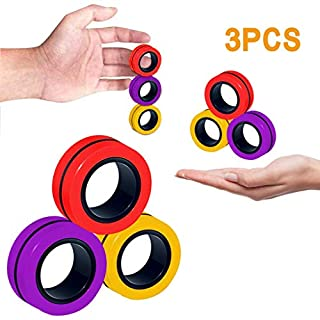 Purpleflower Finger Magnetic Ring, Magnet Toy, Magnetic Fingertip Toys, Decompression Magnetic Magic Ring, Magnetic Game, Magic Toy, Magnetic Bracelet, Durable Unzip Toys