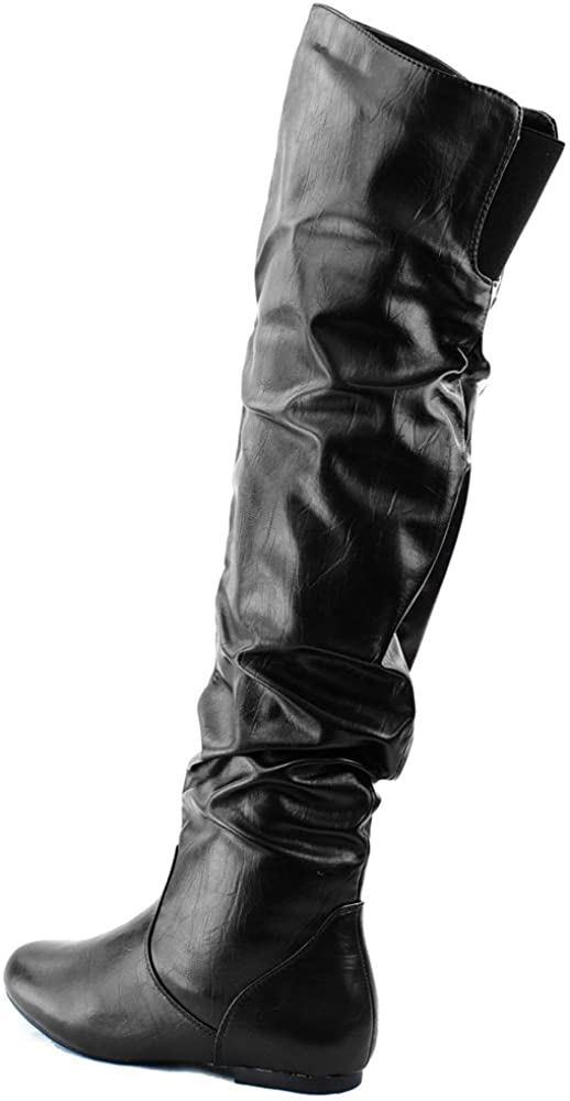 Nature Breeze Women Leatherette Slouchy Thigh High Boot AC09