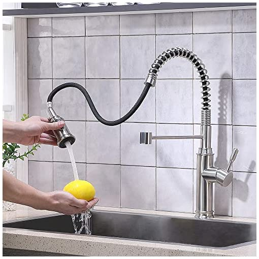 Farmhouse Kitchen VALISY Commercial Modern sus304 Stainless Steel Farmhouse Spring Pre Rinse Brushed Nickel Pulldown Kitchen Sink Faucet,Single Hole 1 Handle Lever Kitchen Faucets Set with Pull Down Sprayer farmhouse sink faucets