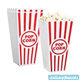 [Novelty Place®] Plastic Red & White Striped Classic Popcorn Containers for Movie Night - 7.8 Tall x 3.8 Square (12 Pack)