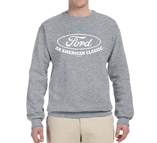 Ford Motors | an American Classic | Mens Planes/Trains/Automobiles Crewneck Graphic Sweatshirt, Heather Grey, X-Large ()
