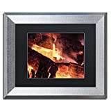 Trademark Fine Art Fireplace by Kurt Shaffer, Black Matte, Silver Frame 11x14-Inch