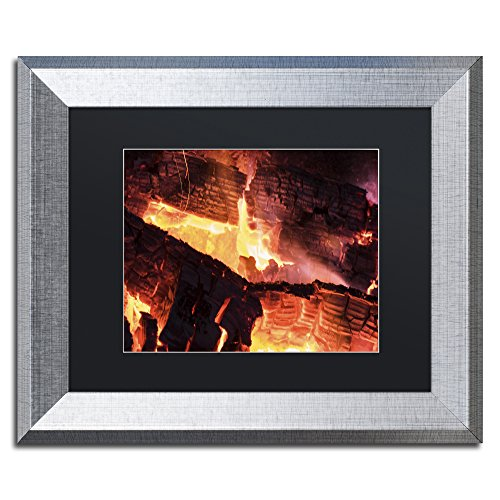 Trademark Fine Art Fireplace by Kurt Shaffer, Black Matte, Silver Frame 11x14-Inch by Trademark Fine Art