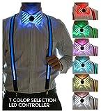 Neon Nightlife Men's LED Suspenders & Bowtie Set, Light Up, 7 Color Selection LED Battery Pack, One Size