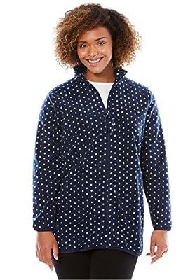 Women's Plus Size All American Comfort Zipper Front Fleece Jacket