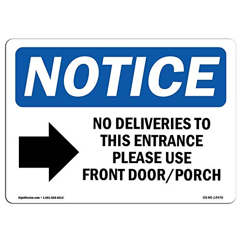 OSHA Notice Sign No Deliveries to This Entrance Sign with Symbol Protect Your Business Construction Site Metal Tin Sign Outside Decor Aluminum Sign for Garage Driveway from Moonluna