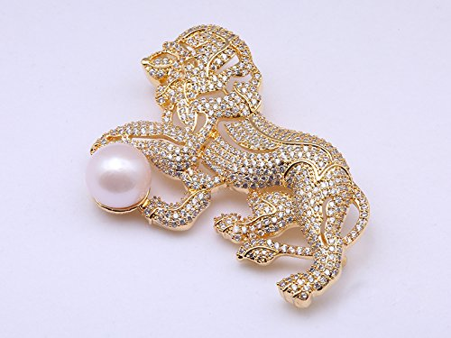 JYX Lion style 12mm Round White Freshwater Pearl Brooch