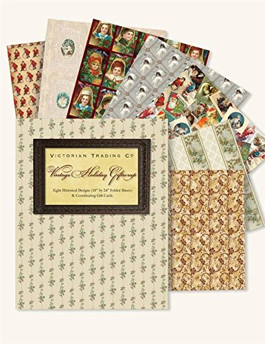 Victorian Trading Co Vintage Art Christmas Holiday Gift Wrap Wrapping Paper (8 Sheets)