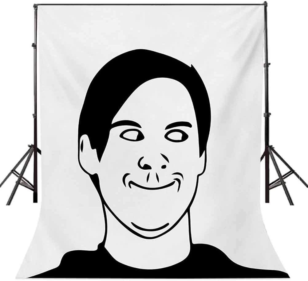 Humor 10x12 FT Photo Backdrops,Irritating Troll Face Man with Cynical Expression Oh Crap Famous Fun Image Print Background for Baby Shower Bridal Wedding Studio Photography Pictures Black and White