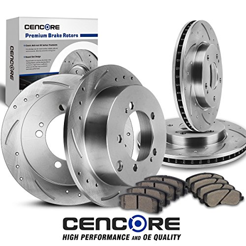 ([Front&Rear] Full Kit 4 Drilled Slotted Brake Rotors & 8 Brake Ceramic Pads compatible with Chrysler Dodge Mitsubishi 00-05)