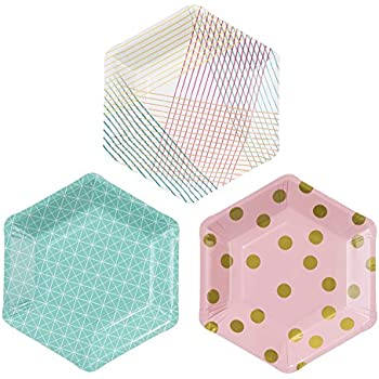 Talking Tables Party Time Stylish Hexagonal Plates, 12 count, for a Birthday Party