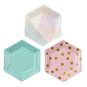 Talking Tables Party Time Stylish Hexagonal Plates for a Birthday Party, Multicolor (1 Pack of 12)