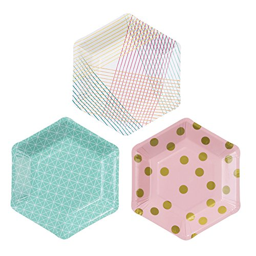 Talking Tables Party Time Stylish Hexagonal Plates for a Birthday Party, Multicolor (1 Pack of (Cute Paper Plates)