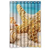 "Sand Sea Shells Starfish Beach Digital Graphic Print Background Waterproof Shower Curtain/Bath Decor--Size: 48"" x 72"" Popular And Cheap"