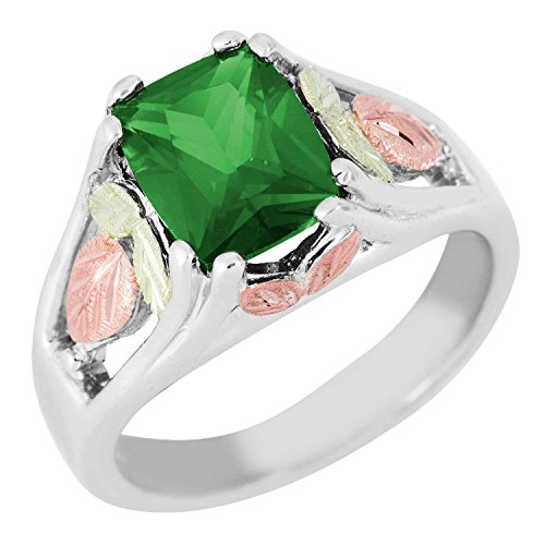 Landstrom's Black Hills Sterling Silver Synthetic Soude Emerald Ring with 12k Gold Leaves - Size 5