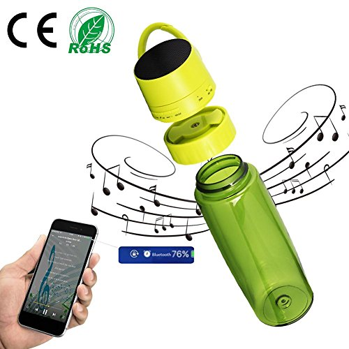 Luerme Waterproof Outdoor Sports Water Bottle with Wireless Speaker for iPad, iPhone, Android Devices and Smartphones Innovative2-in-1 Water Bottle and Bluetooth Speaker Cycling Bottle 750ML/Green