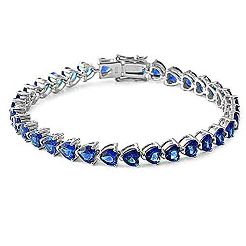 Blue Sapphire Heart Cz Gemstone Bracelet Solid .925 Sterling Silver 7.25 ()