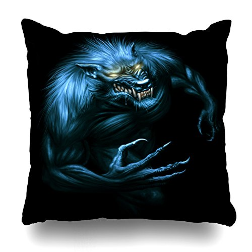 Kutita Decorativepillows Covers 18 x 18 inch Throw Pillow Covers,Werewolf with Glowing Eyes On Dark Digital Painting Pattern Double-Sided Decorative Home Decor Pillowcase Sofa Bedroom Car]()