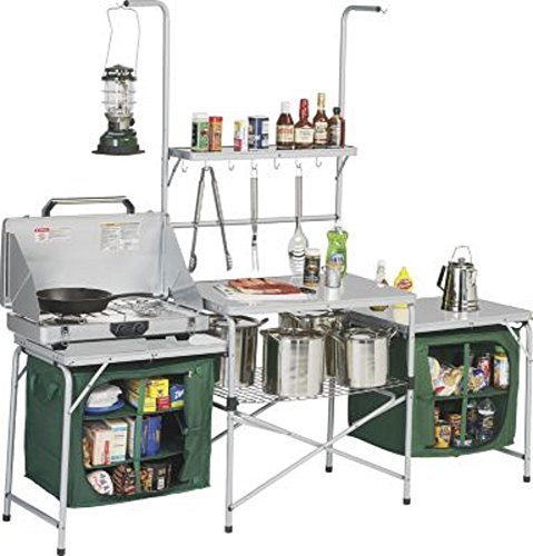 Outdoor Deluxe Portable Camping Kitchen, with PVC Sink & Drain, Lets You Create Meals in Any Environment