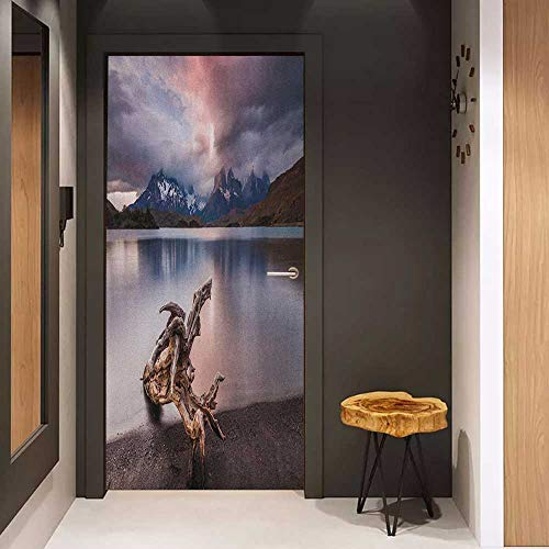 Onefzc Sticker for Door Decoration Driftwood Driftwood on The Coast with Reflection of The Mountains in The Lake Digital Image Door Mural Free Sticker W17.1 x H78.7 Redwood