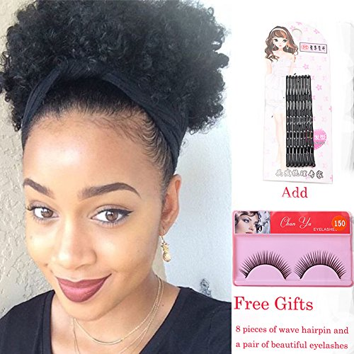 Search : Synthetic Curly Ponytail,Short Elastic Drawstring Ponytail African American Afro Kinky Curly Hair Extension, Puff Ponytail Hair with Clips(Color 1# Size:M)