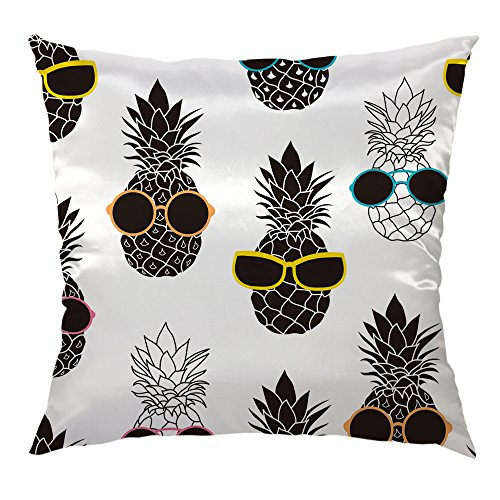 HGOD DESIGNS Pineapple Pillow Cover,Pineapples Wearing Colorful Sunglasses Satin Cushion Cover Square Standard Home/Sofa Decorative for Men/Women/Kids 18x18 inch Black ()