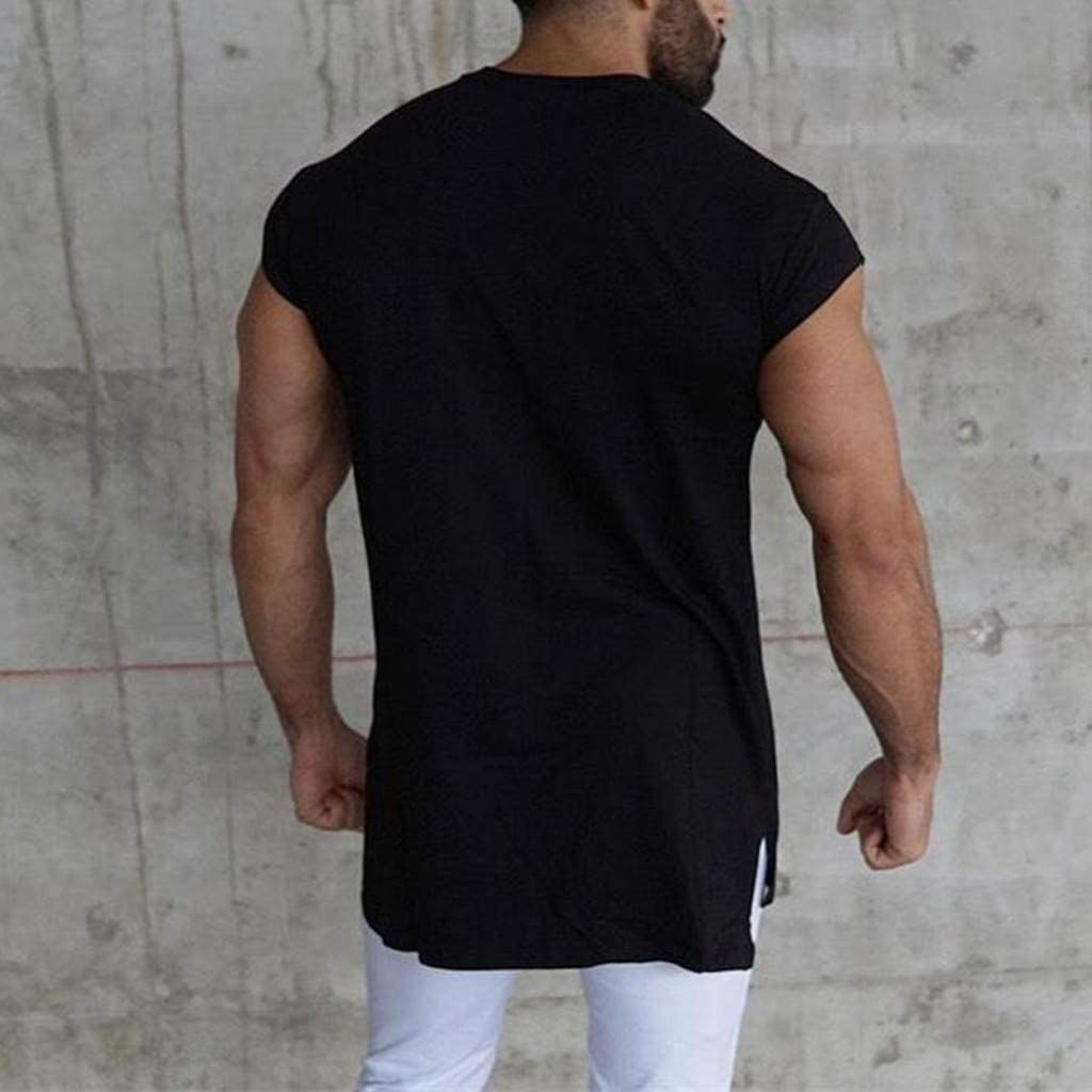 Woaills Shirt Mens Fitness Vest Solid Color Tank Tops Fashion Fitness Run Blouse Tee Vest