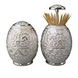 KINGFOM Luxurious and Decorative Metal Vintage Automatic Toothpick Holder Dispenser with Retractable Lid for Hotels, Home, Restaurants(1089White)