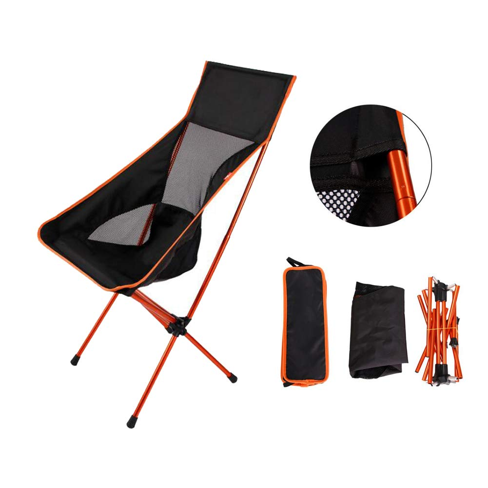 XYHWZY Mini Outdoor Folding Chair Aluminum Camping Travel Chair Portable Foldable Fishing Stool for BBQ Garden Beach Seat Stool,Orange by XYHWZY