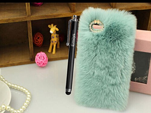 5C Case,Fusicase iphone 5C case,Fusicase fashion style and design New Rex Rabbit Fur Hair Sleeve Plush Fitted Back predicament Cover for iphone 5C(Blue)