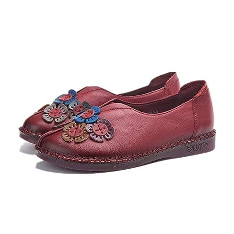 Mary Mujer Vintage Zhrui Zapatos De Leather Jane Soft Flower Planos qAxgpwxTS