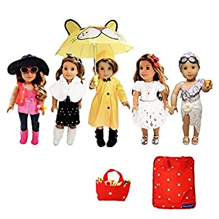 Weardoll 18 Inch Doll Clothes And Accessories Fits American Girl Doll Clothes - 33 Items Doll Clothes And Doll Accessories For Girls With Matching Doll Travel Bag For American Girl Clothes And Outfits