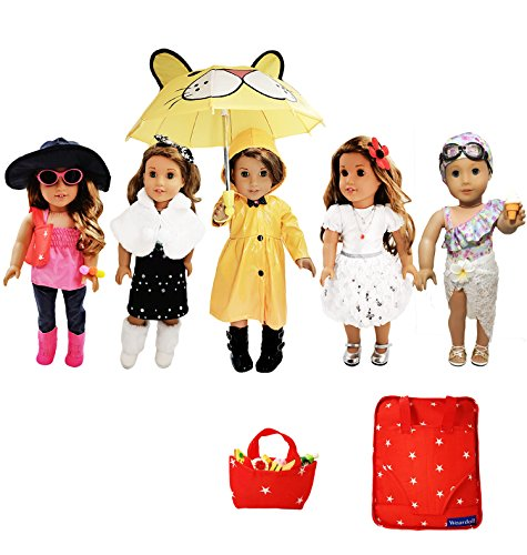 Weardoll 18inch Doll Clothes and Accessories - 33 Items, 18 inch Doll Accessories fits American Girl Doll Accessories, Mylife Doll Accessories (And Accessories Clothes)