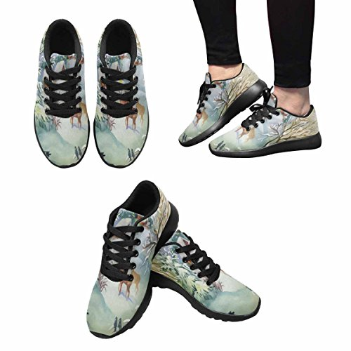InterestPrint Womens Jogging Running Sneaker Lightweight Go Easy Walking Comfort Sports Running Shoes Watercolor Winter Landscape With Deers Multi 1 DQ9yixFsb